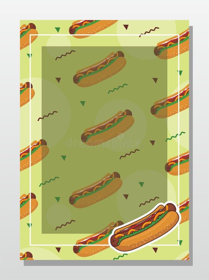 热狗菜单的,卡片,海报设计背景模板 皇族释放例证