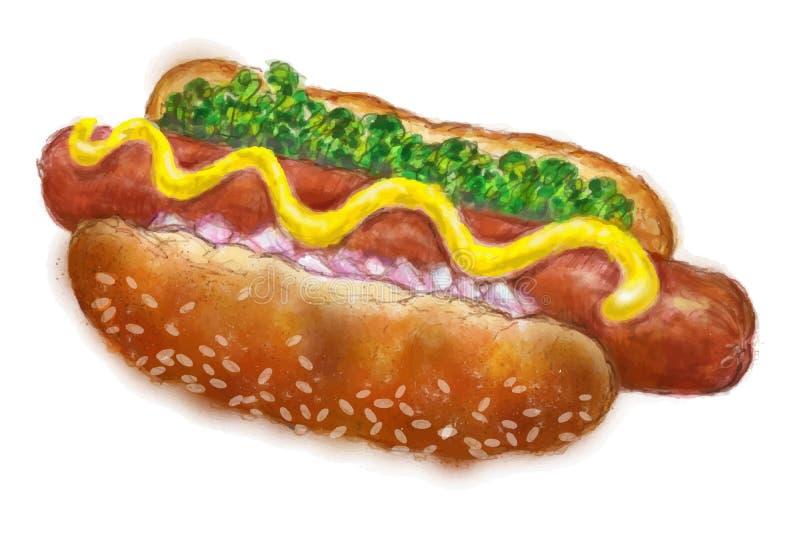 热狗被绘的颜色 库存例证
