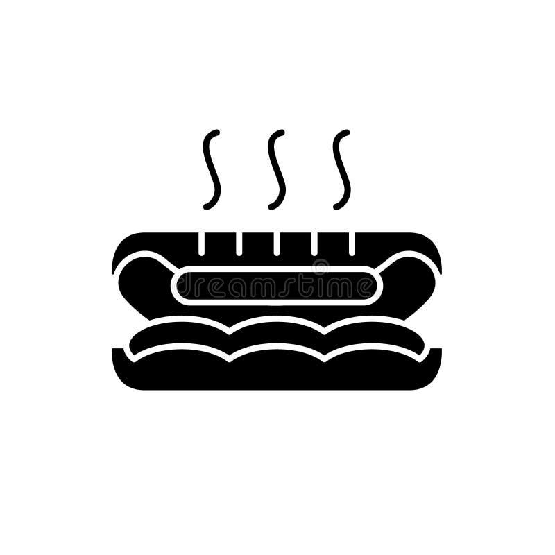 热狗黑色象,在被隔绝的背景的传染媒介标志 热狗概念标志,例证 库存例证