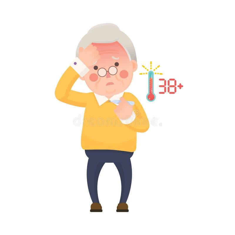 以热病检查温度计的老人 皇族释放例证