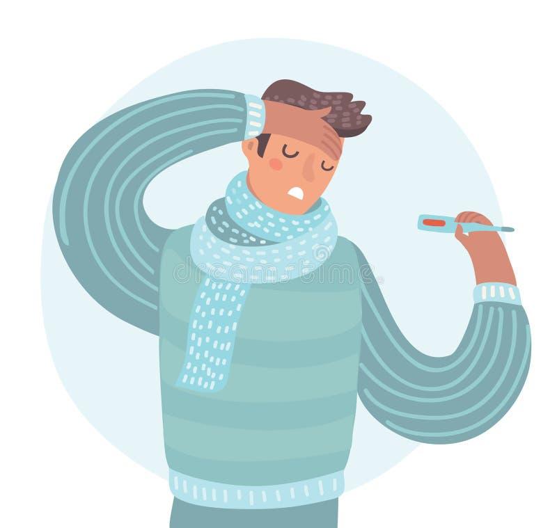 热病的人病与通气管举行温度计佩带的围巾 向量例证