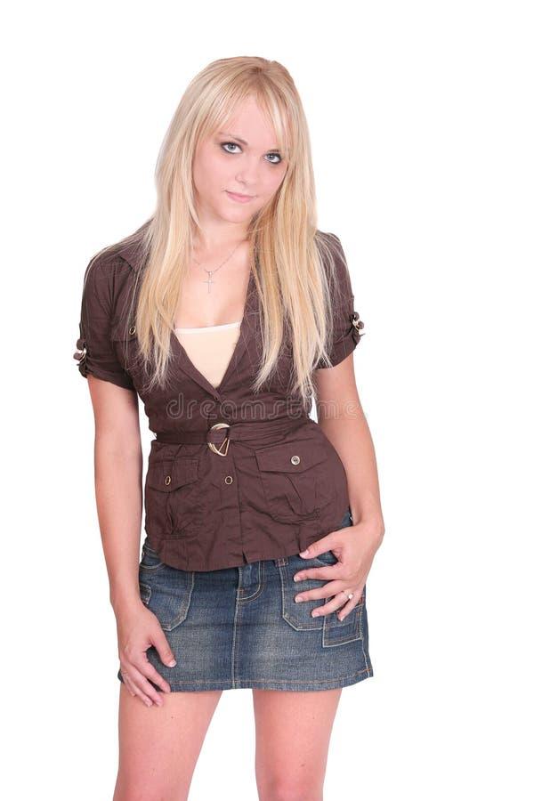 热白肤金发的女孩 图库摄影