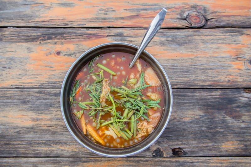 热的与鱼的咖喱橙色汤和给菜催眠 库存图片