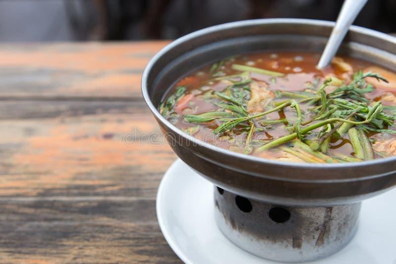 热的与鱼的咖喱橙色汤和给菜催眠 免版税图库摄影