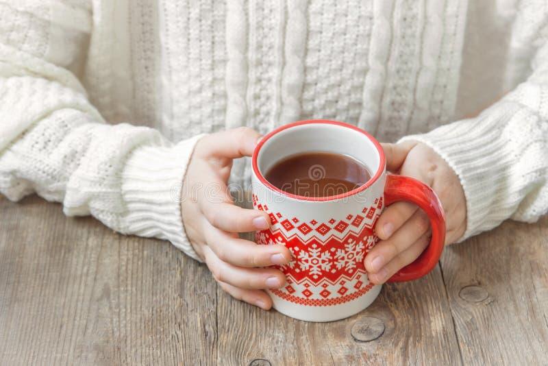 热的冬天饮料在手上 库存图片