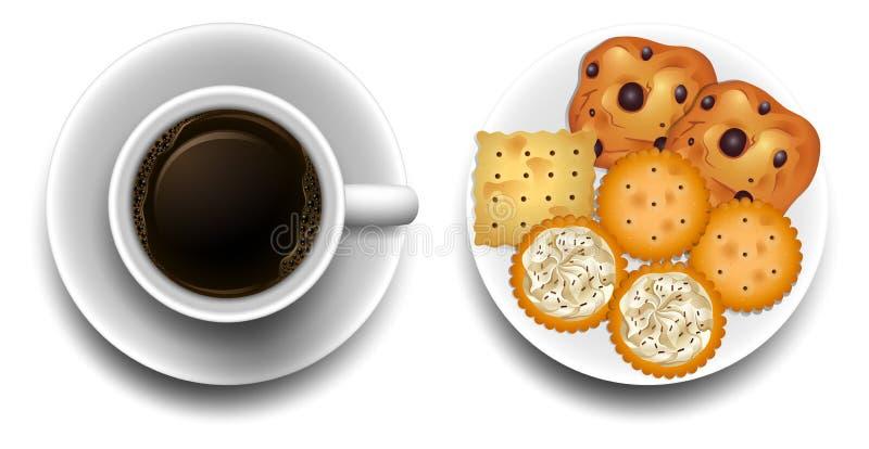 热的咖啡和曲奇饼在板材 库存例证