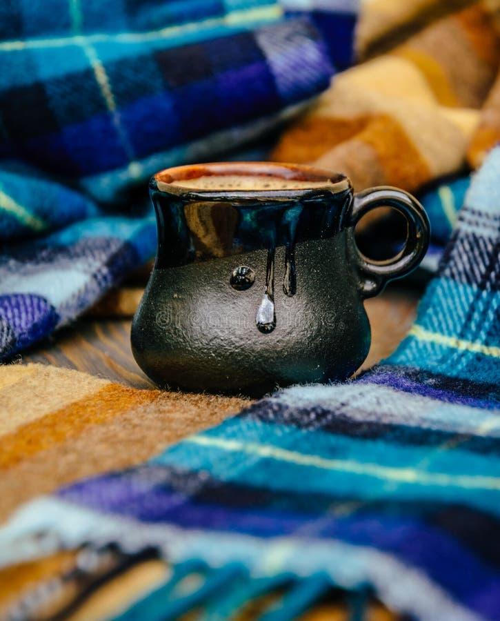 热的咖啡和格子花呢披肩地毯 免版税库存图片