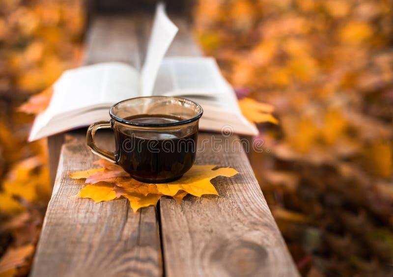 热的咖啡和红色书与秋叶在木背景-季节性放松概念 免版税库存图片