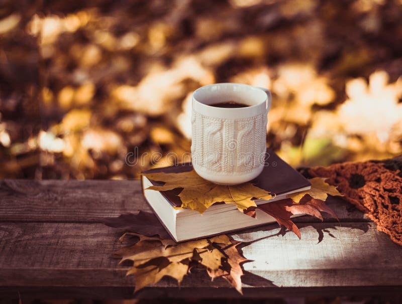 热的咖啡和红色书与秋叶在木背景 免版税图库摄影