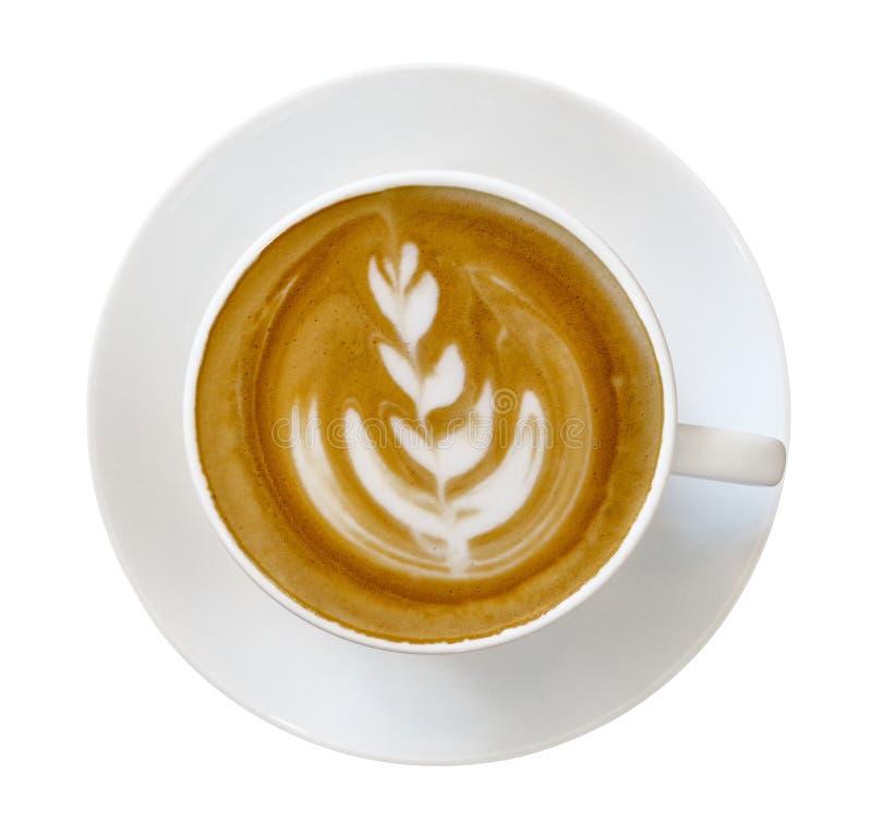 热的咖啡拿铁热奶咖啡杯子顶视图有拿铁艺术形状的 免版税图库摄影
