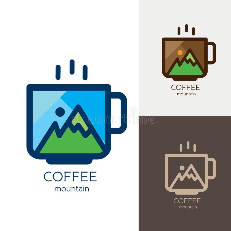 热的咖啡杯山商标设计 免版税库存图片