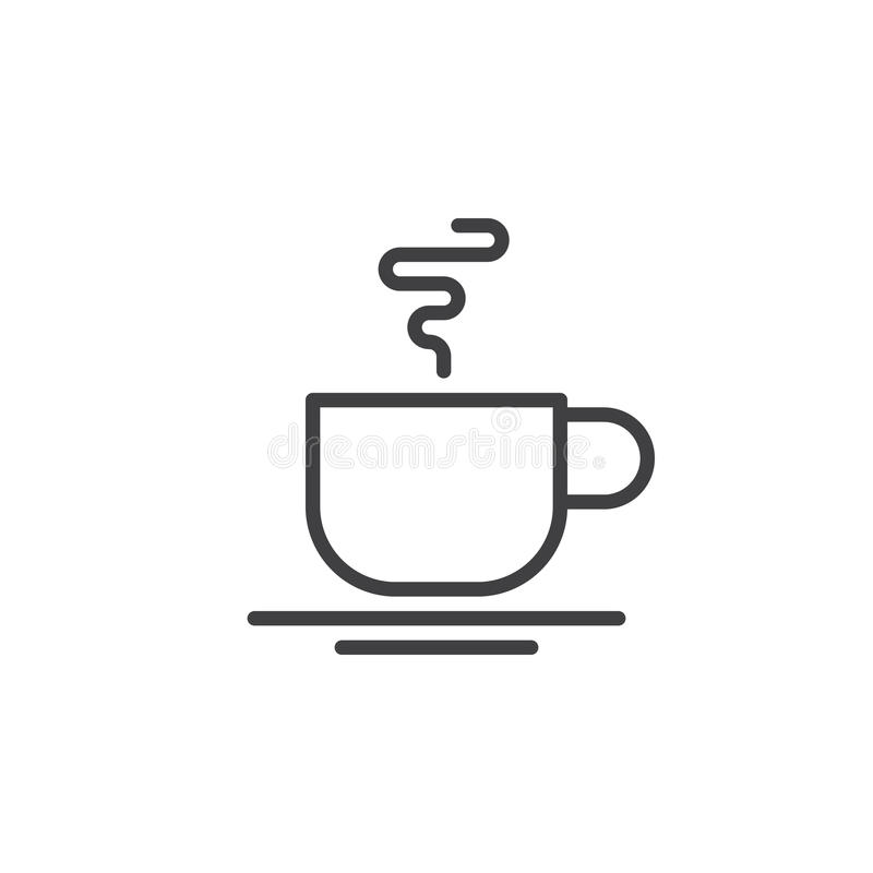 热的咖啡杯线象,概述传染媒介标志,在白色隔绝的线性样式图表 皇族释放例证