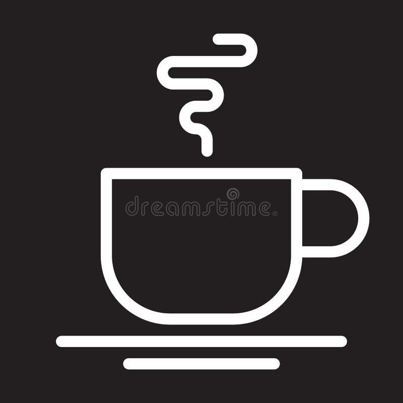 热的咖啡杯线象,白色概述标志,咖啡馆传染媒介例证 库存例证