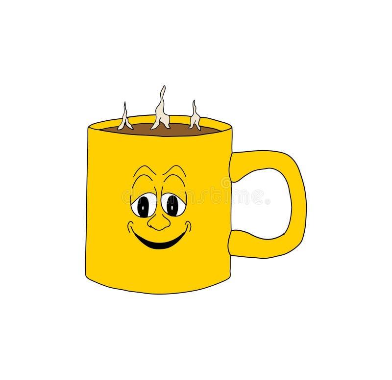 热的咖啡杯 库存例证
