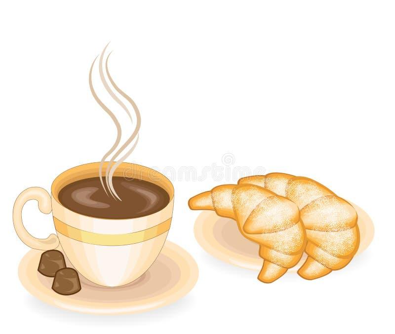 热的咖啡用新鲜的新月形面包,经典法国烹调 早餐、午餐和晚餐的两块巧克力糖好吃 向量例证
