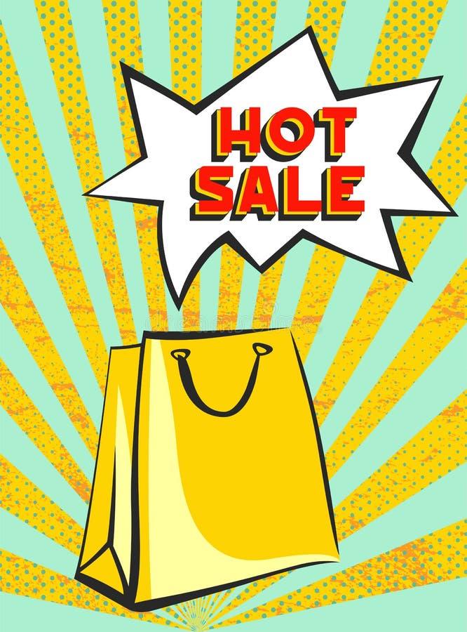 热的在五颜六色的光芒背景的销售减速火箭的横幅与纸购物带来 免版税库存照片