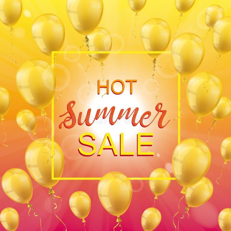 热的夏天销售太阳金黄气球框架 向量例证