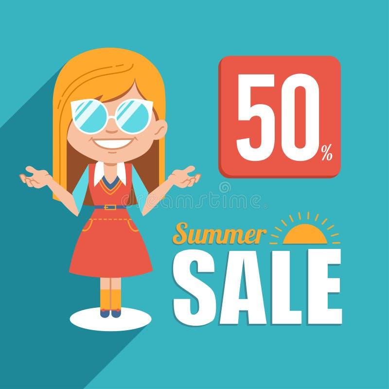热的夏天销售横幅 与白肤金发的女孩的广告例证太阳镜的 大销售额夏天 折扣50 用在白色背景的戴西装饰的季节性sale.green标签 库存例证