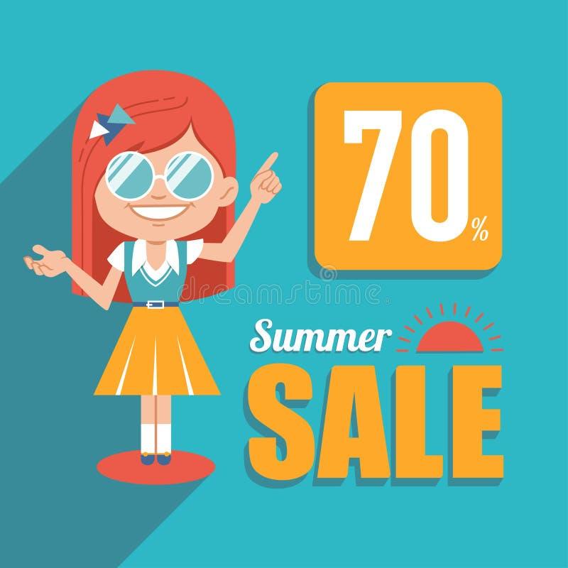 热的夏天销售横幅 广告与女孩的购物例证太阳镜的 大销售额夏天 折扣70 向量例证