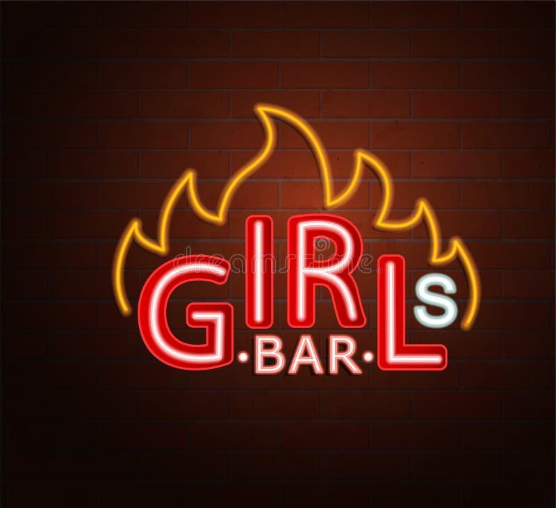 热的女孩酒吧的霓虹灯广告 皇族释放例证