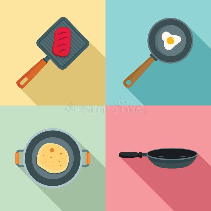 热的平板炉厨师象集合,平的样式 皇族释放例证