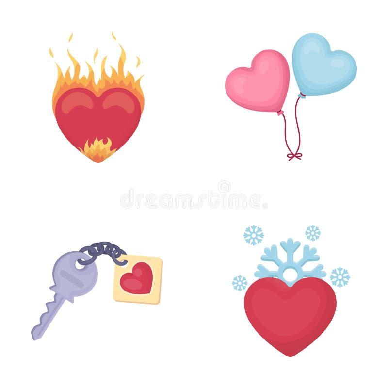 热的心脏,气球,与魅力,冷的心脏的一把钥匙 在动画片样式的浪漫集合汇集象导航标志 库存例证