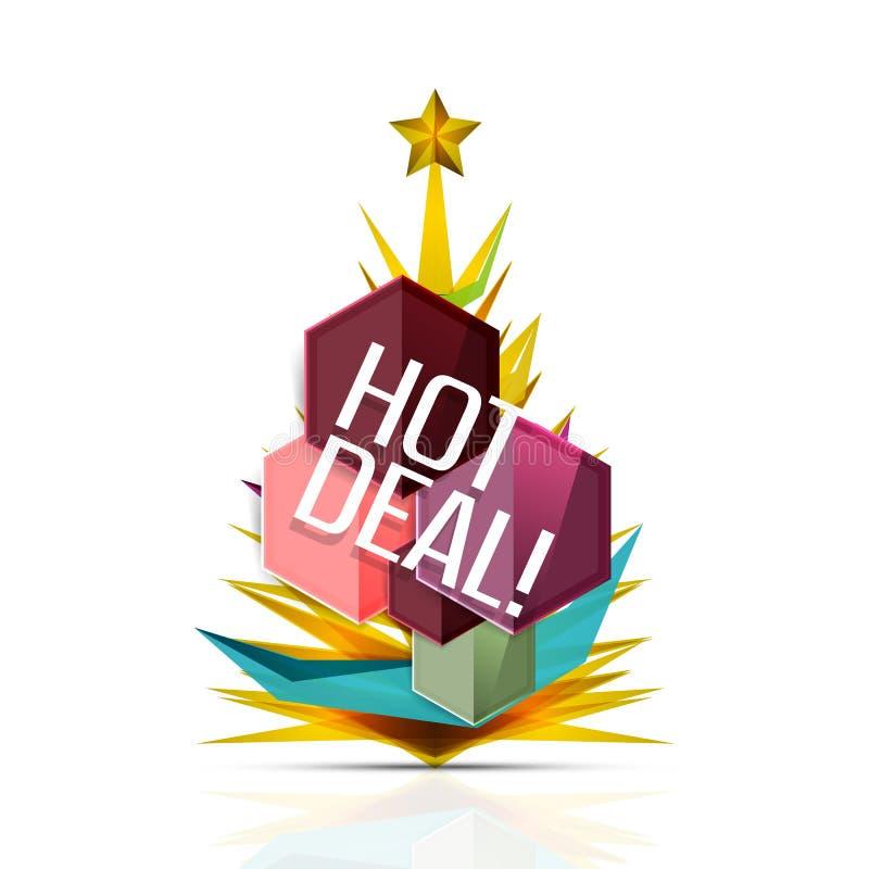 热的成交推销活动为圣诞节标记,证章 向量例证