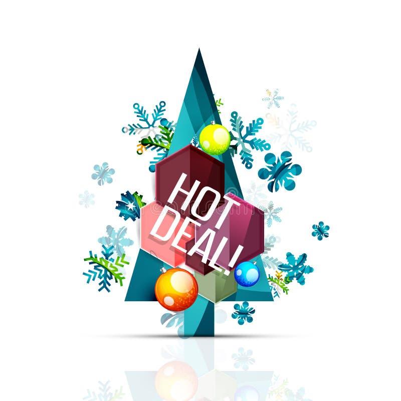 热的成交推销活动为圣诞节标记,证章 皇族释放例证