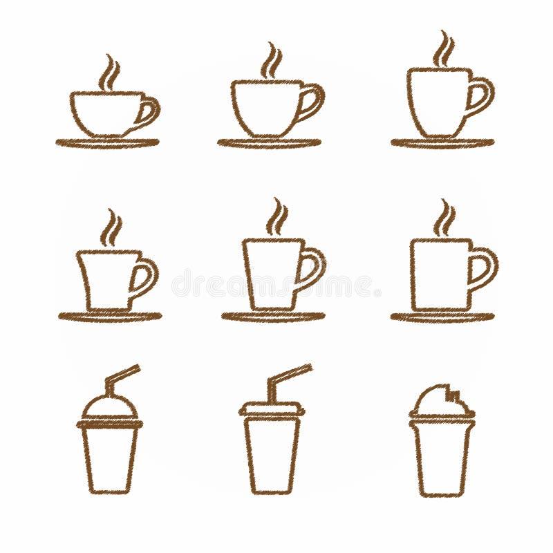 热的杯子咖啡和茶标志 图库摄影