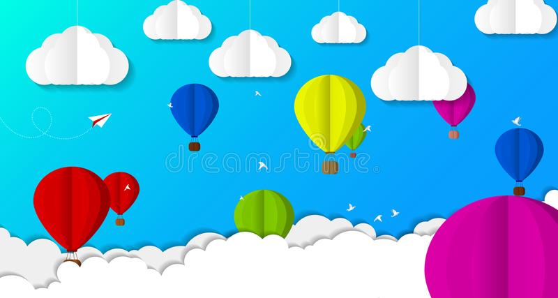 热的气球 与云彩的纸艺术 向量 库存例证