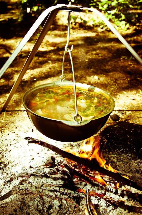 热的汤罐在森林里 免版税库存照片
