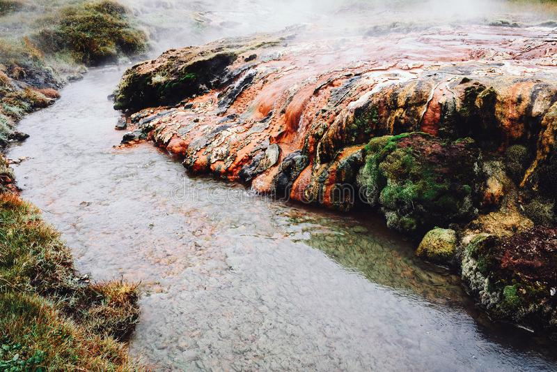 热的河在南冰岛 免版税库存照片