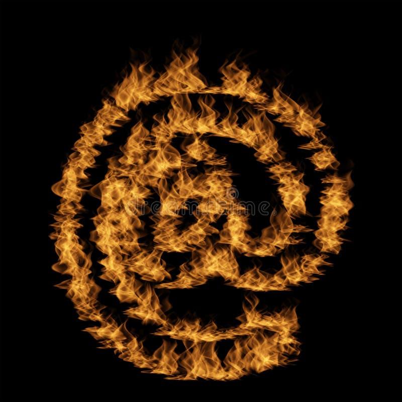 热的火热的灼烧的火焰字体 库存例证