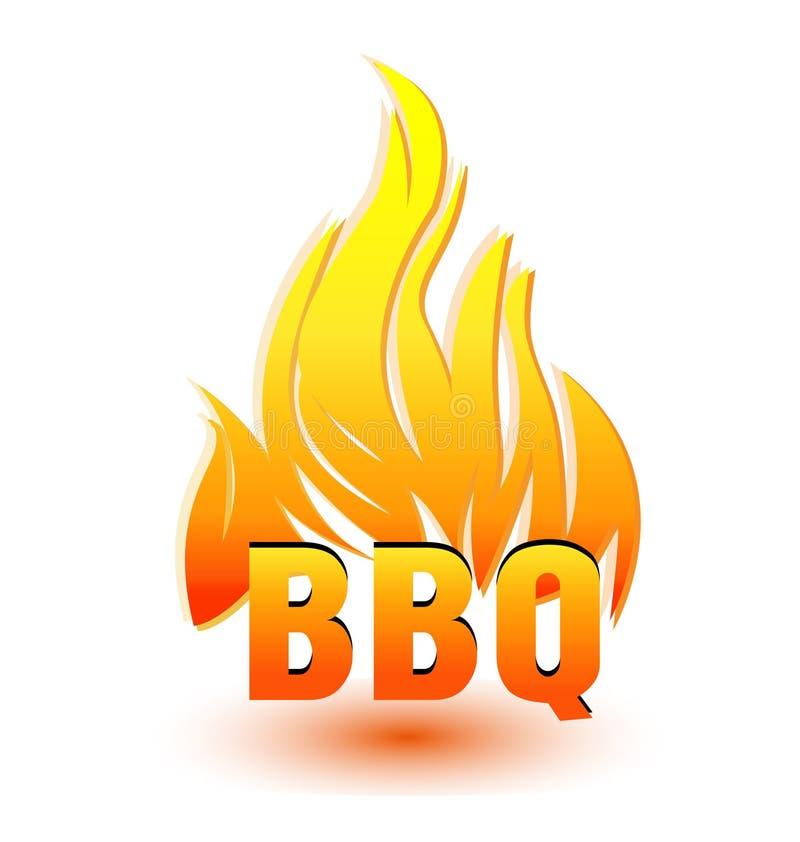 热的烤肉商标 皇族释放例证