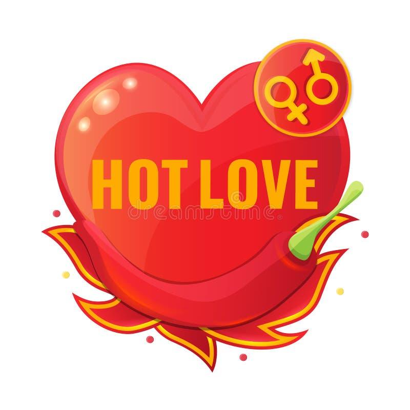 热的爱概念用红辣椒和火焰 向量例证