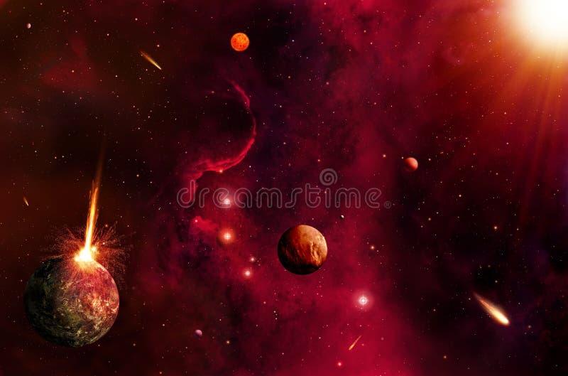 热的空间和星背景 向量例证