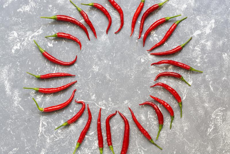 热的红辣椒圆的框架在灰色背景,样式的 E o 图库摄影