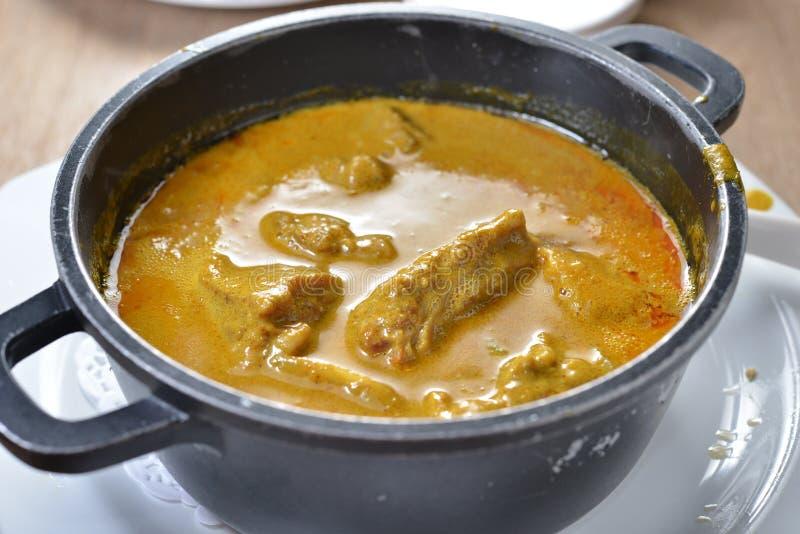 热的罐咖喱牛肉 免版税库存图片