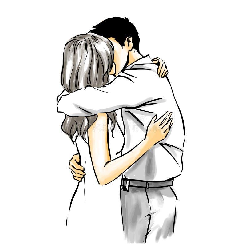 热的肉欲的亲吻,传染媒介图画 库存例证