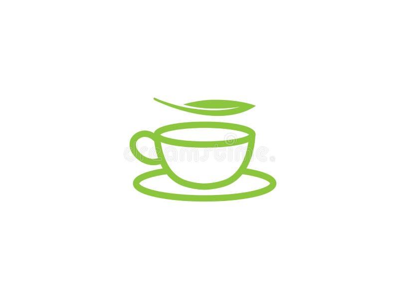 热的茶在一个杯子的有商标设计例证的薄荷叶的 皇族释放例证