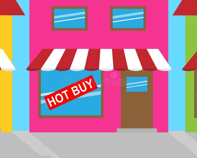 热的购买标志显示便宜的交易3d例证 向量例证