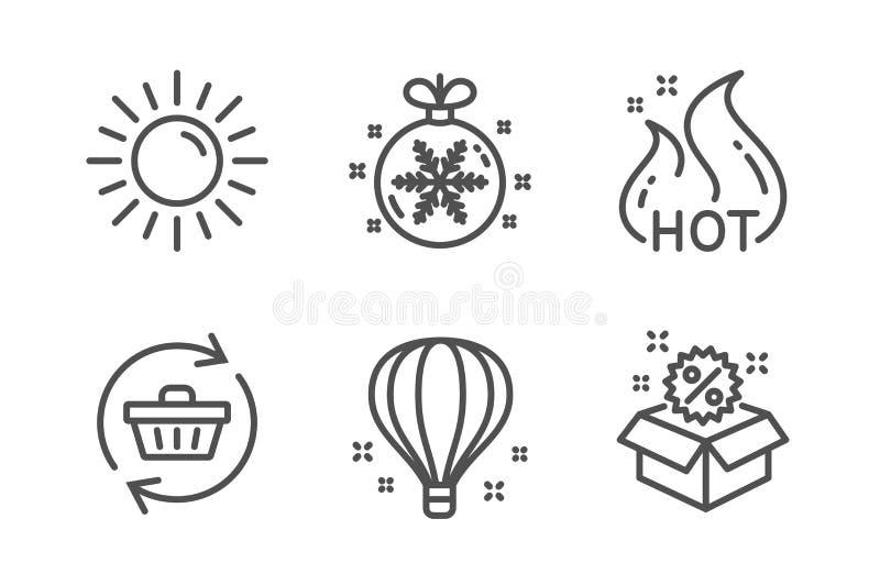 热的销售,太阳和气球象集合 刷新推车、圣诞节球和销售标志 购物火焰,夏天 向量 皇族释放例证