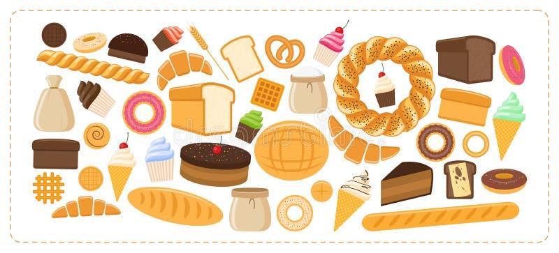 热的面包店产品 向量例证