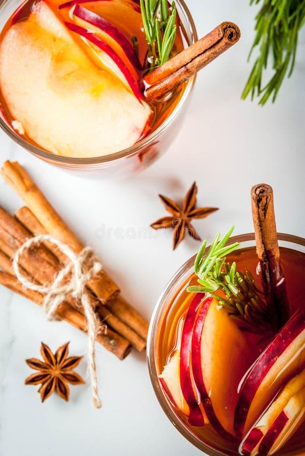 热的鸡尾酒用苹果,迷迭香,桂香 库存照片