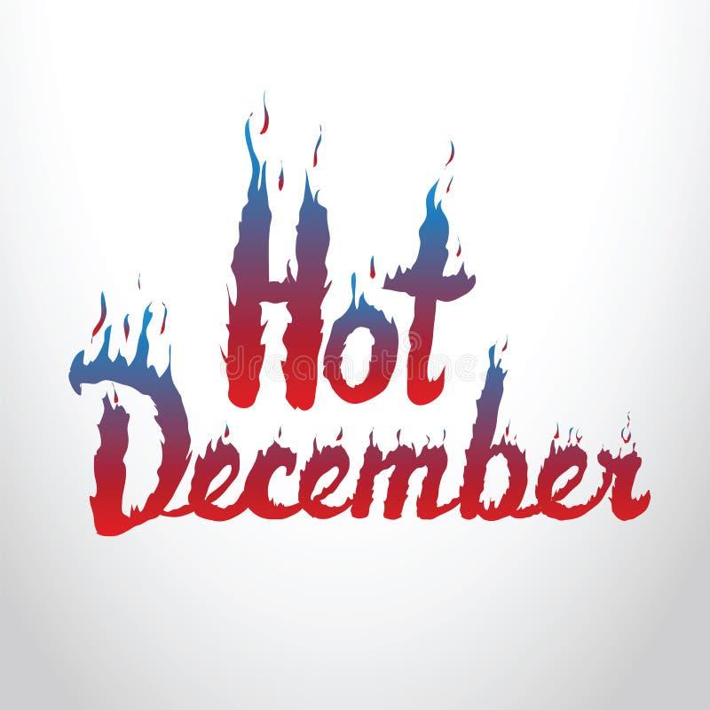 热的12月红色和蓝色灼烧的题字 概念性标志s 向量例证