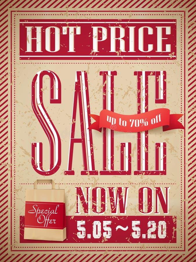 热的价格销售海报 皇族释放例证