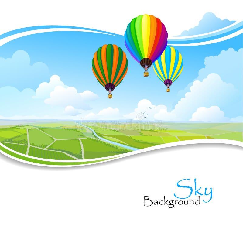 热空气气球、蓝天和绿色领域 向量例证