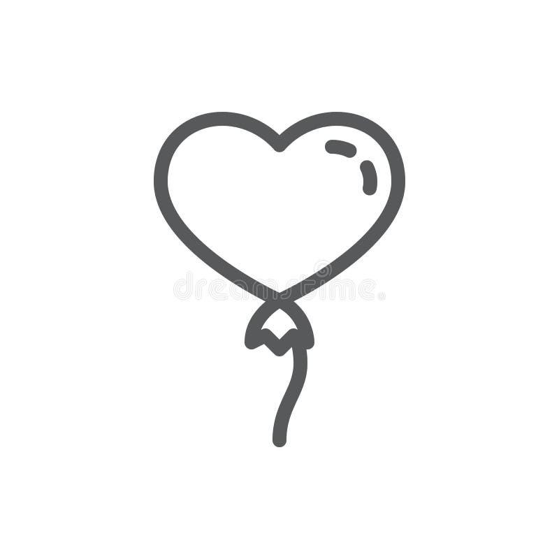 热空气气球以心脏线象的形式与编辑可能的冲程的 向量例证