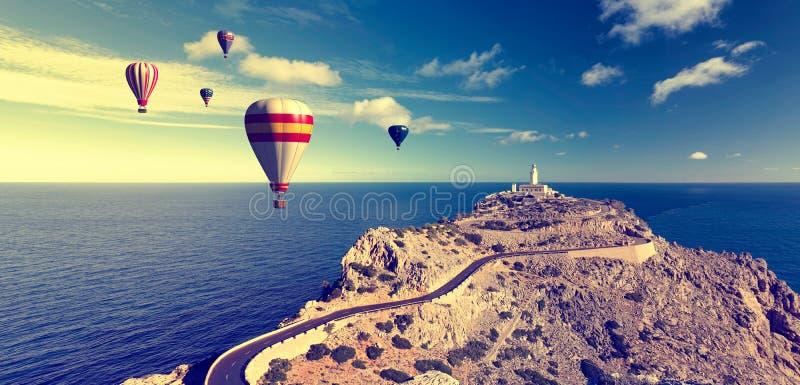 热空气气球和formentor 免版税库存图片