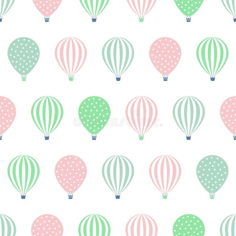 热空气气球无缝的样式 婴儿送礼会在白色背景隔绝的传染媒介例证 库存例证